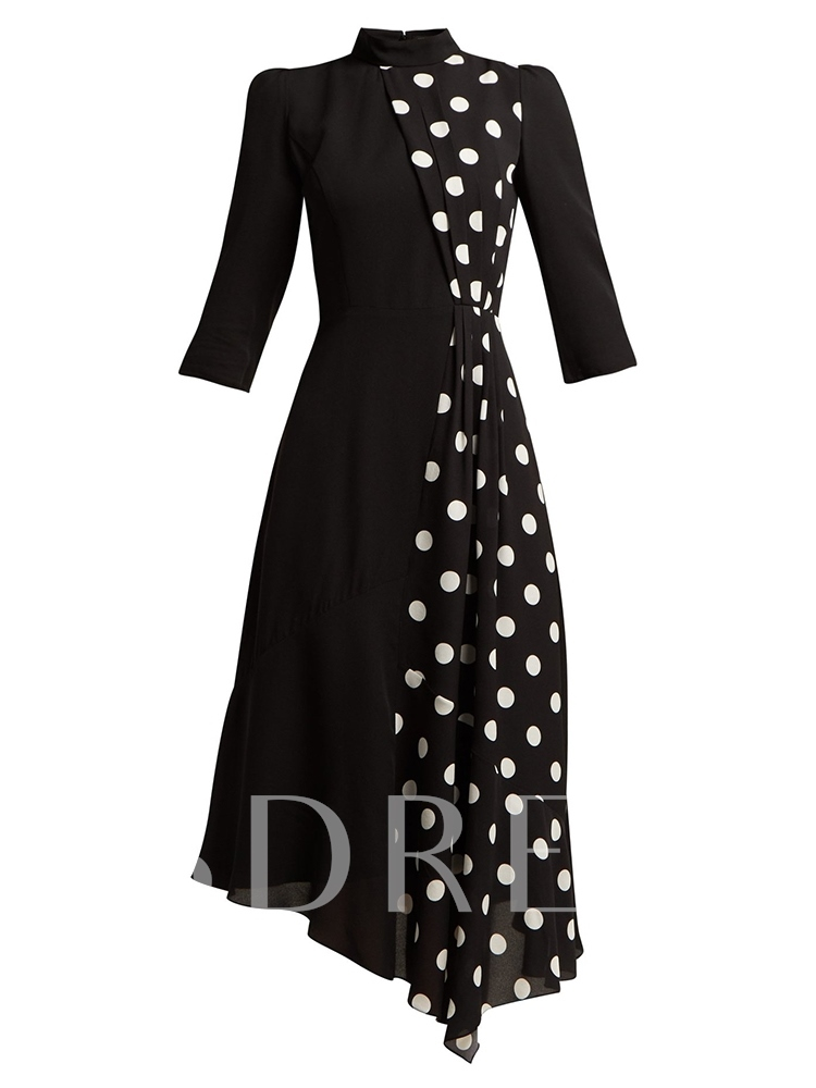 Stand Collar Asymmetrical Women's Long Sleeve Dress