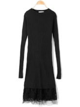 Long Sleeve Lace Women's Sweater Dress