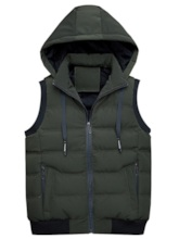 Patchwork Stand Collar Hooded Zipper Men's Gilet