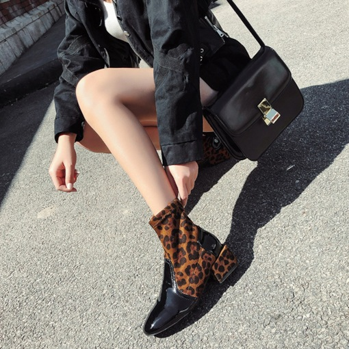 Patchwork Round Toe Slip-On Block Heel Leopard Women's Ankle Boots