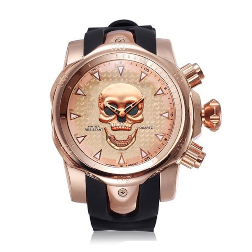 Skull Pattern Multiple Time Zone Round Men's Watches