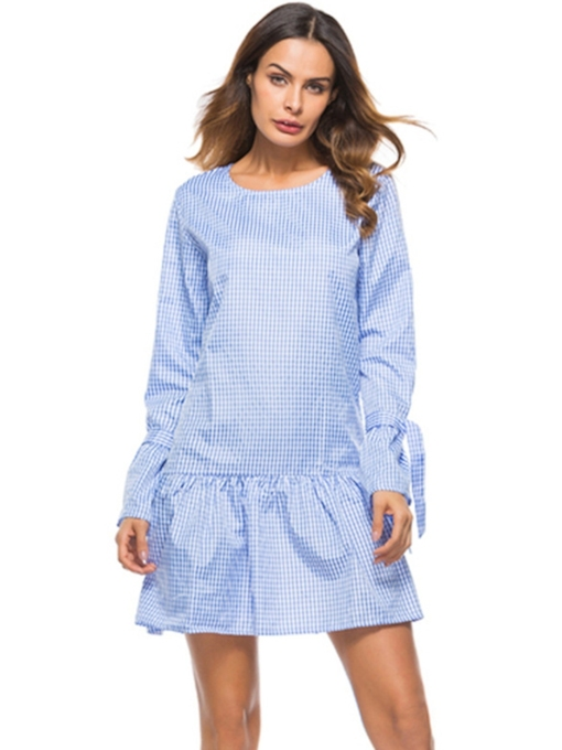 Lace-Up Plaid Casual Women's Long Sleeve Dress