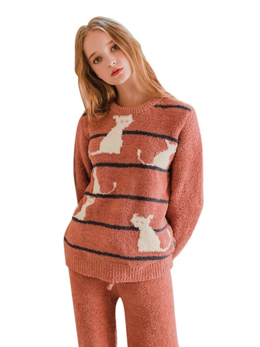 Animal Stripe Long Women's Pajama Set