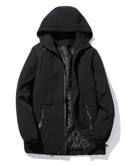 Loose Hooded Zipper Plain Men's Trench Coat