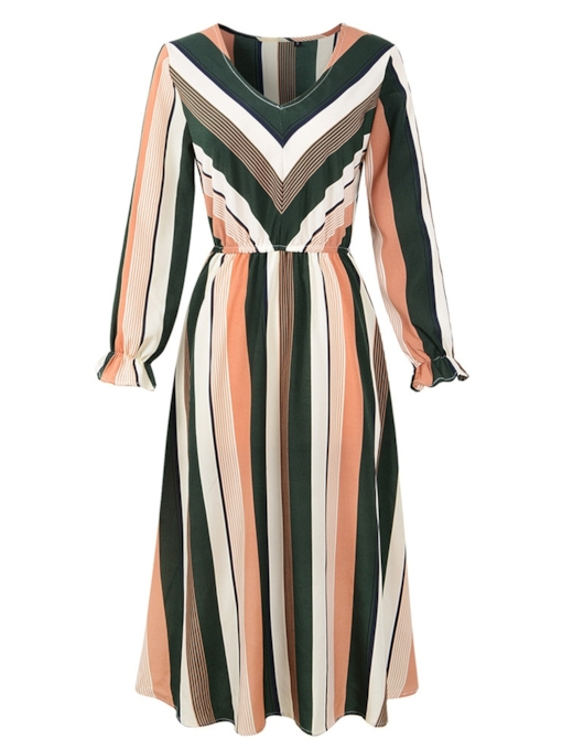 V-Neck Stripe Elegant Women's Long Sleeve Dress