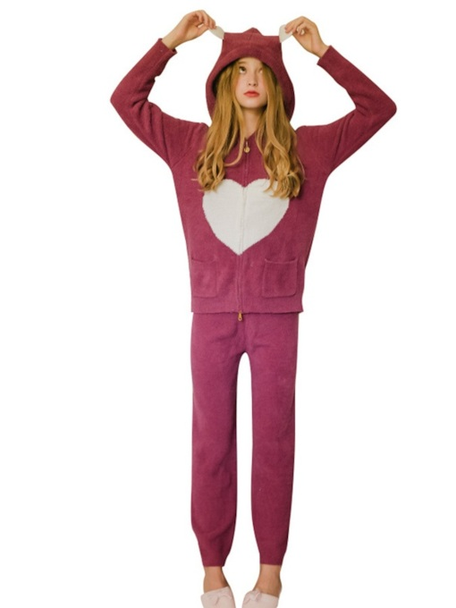 Zipper Love Pattern Women's Pajama Set