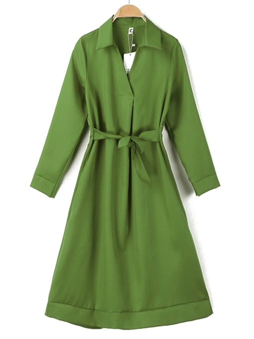 Lapel Bowknot Pullover Women's Long Sleeve Dress