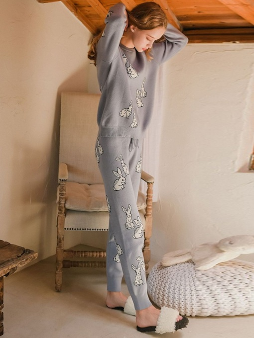 Animal Round Neck Women's Pajama Set