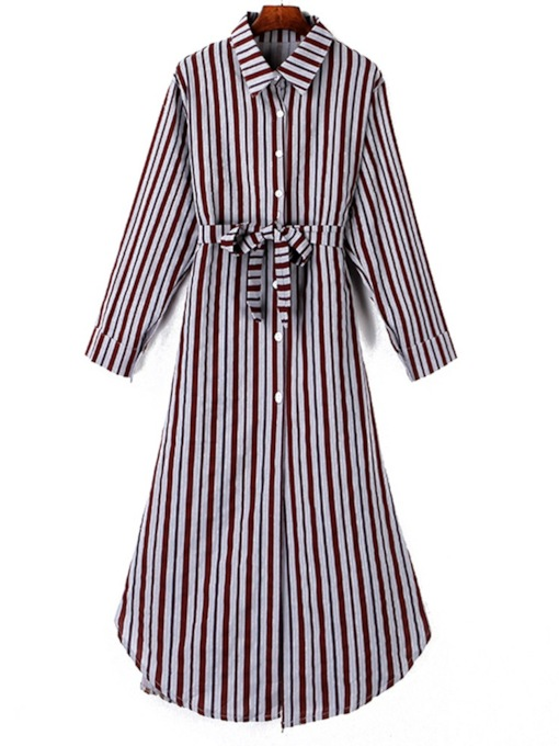 Belt Lapel Stripe Women's Long Sleeve Dress