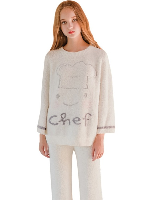 Letter Pullover Long Women's Pajama Set