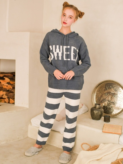 Letter Stripe Hooded Women's Pajama Set