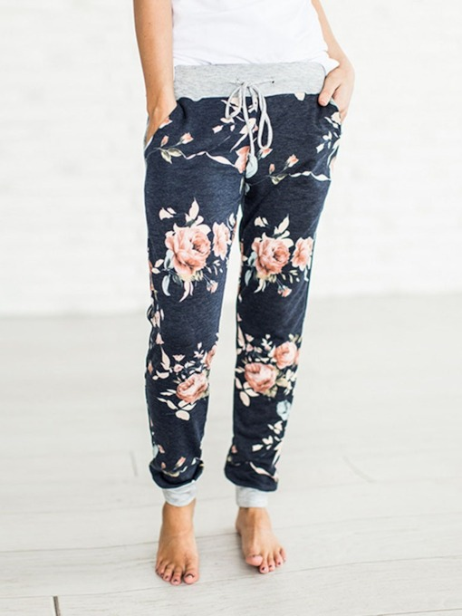 Floral Print Lace-Up Mid-Waist Women's Casual Pants