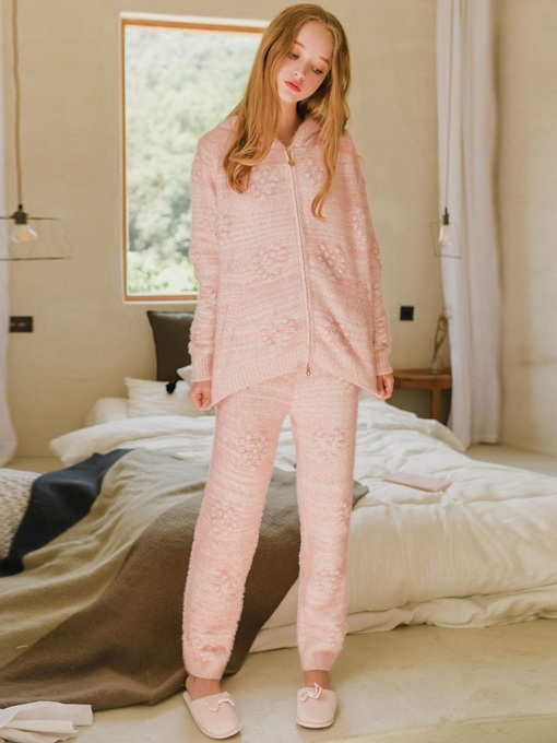 Hooded Zipper Plain Long Women's Pajama Set