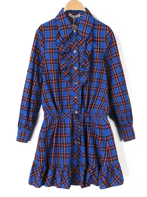 Button Single-Breasted Lapel Casual Women's Long Sleeve Dress
