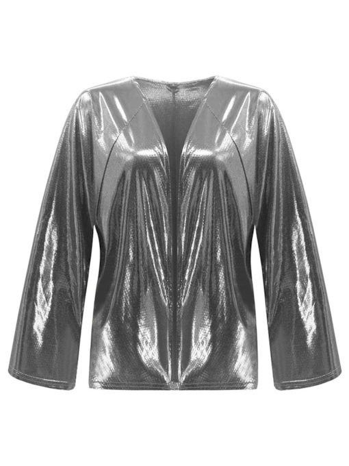 V-Neck Glitter Metallic Women's Jacket