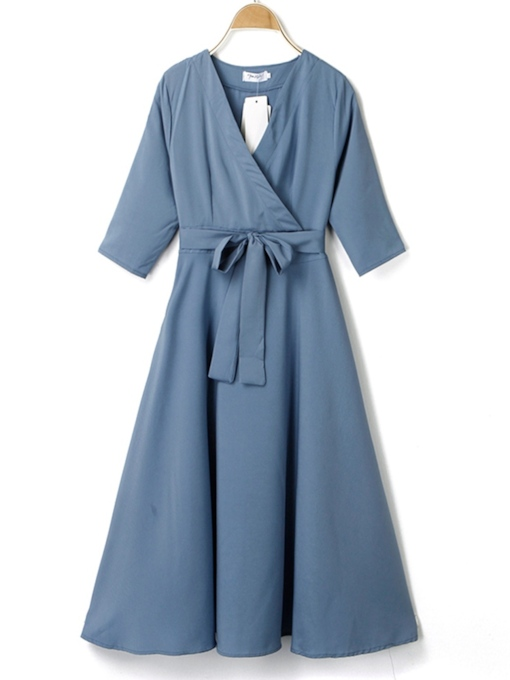 Pullover V-Neck Bowknot Plain Women's Long Sleeve Dress