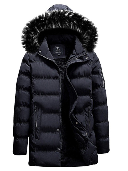Zipper Mid-Length Straight Plain Hooded Men's Down Jacket