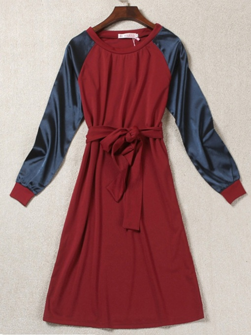 Pullover Round Neck Color Block Women's Long Sleeve Dress