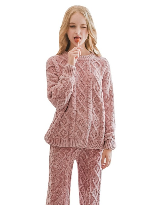 Plain Pullover Long Women's Pajama Set