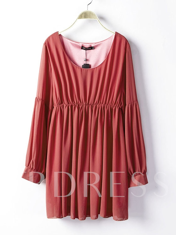 Round Neck Pleated Casual Women's Long Sleeve Dress