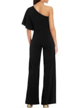 Plain Full Length Patchwork Wide Legs Women's Jumpsuit