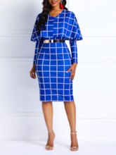 V-Neck Patchwork Plaid Women's Bodycon Dress