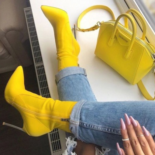 Pointed Toe Stiletto Heel Side Zipper Customized Women's Ankle Boots