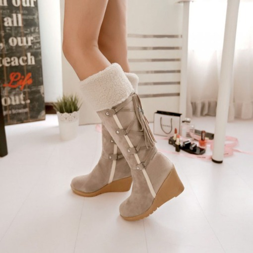 Wedge Heel Lace-Up Back Round Toe Knee-High Women's Boots