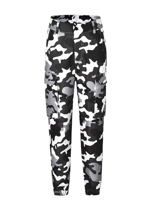 Camouflage Loose Print Mid-Waist Women's Casual Pants