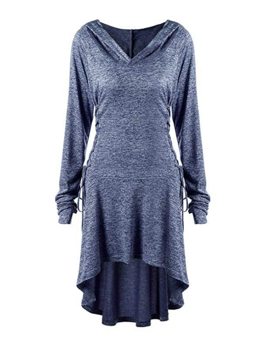 Asymmetric Hooded Casual Women's Long Sleeve Dress