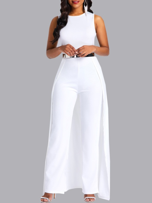 Full Length Plain Slim Women's Jumpsuits (No Belt)