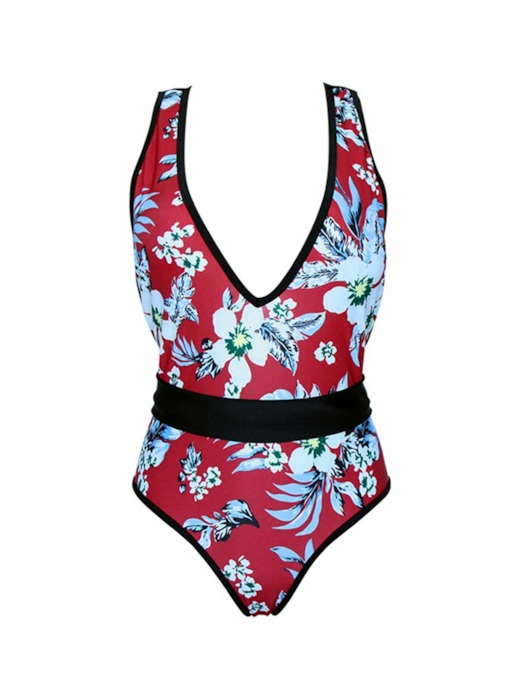 Deep V Neck Flower Printing Open Back One-Piece Swimsuit