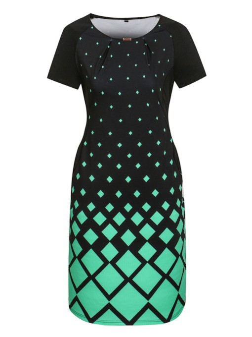 Plus Size Geo Prints Color Bloack Sheath Dress