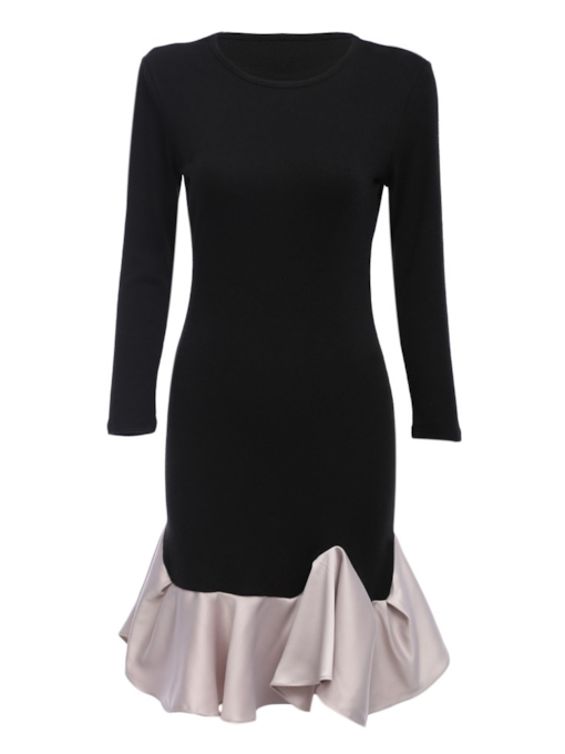 Round Neck Elegant Women's Long Sleeve Dress