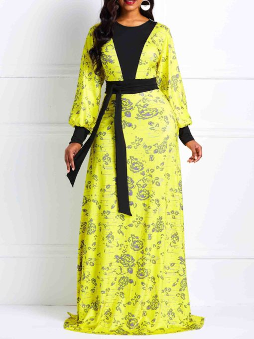 Long Sleeve Zipper Floral Women's Maxi Dress