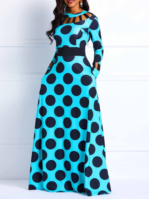 Long Sleeve Hollow Zipper Vintage Women's Maxi Dress