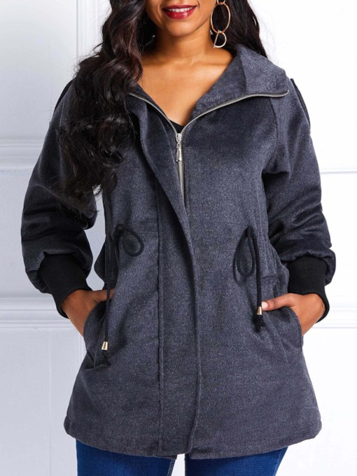 Plain Drawstring Winter Hooded Women's Overcoat