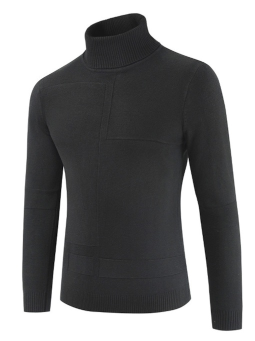 Turtleneck Slim Plain Men's Sweater