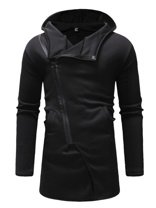 Asymmetric Cardigan Plain Zipper Men's Hoodie