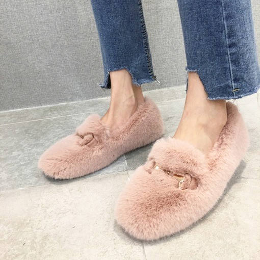 Slip-On Square Toe Casual Chic Women's Teddy Flats