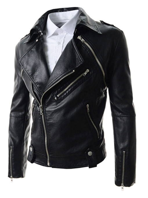 Plain Slim Standard Zippers Men's Leather Jacket