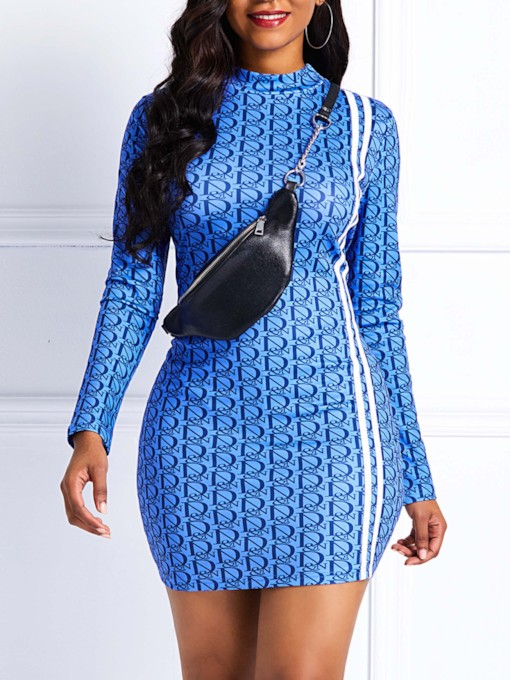 Stand Collar Long Sleeve Casual Women's Bodycon Dress