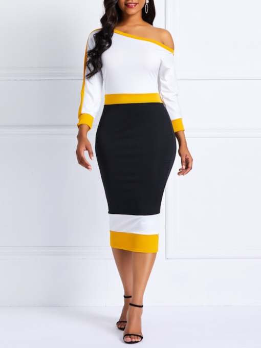 Patchwork Three-Quarter Sleeve Women's Bodycon Dress