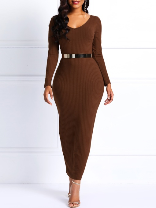 Belt Long Sleeve Plain Women's Bodycon Dress