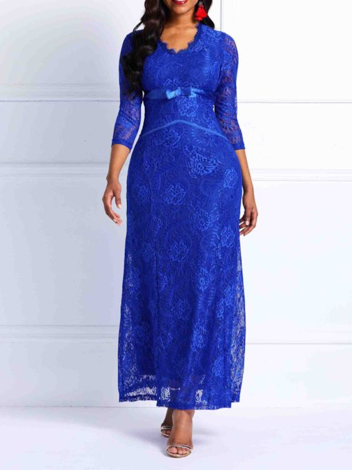 V-Neck Patchwork Lace Women's Maxi Dress
