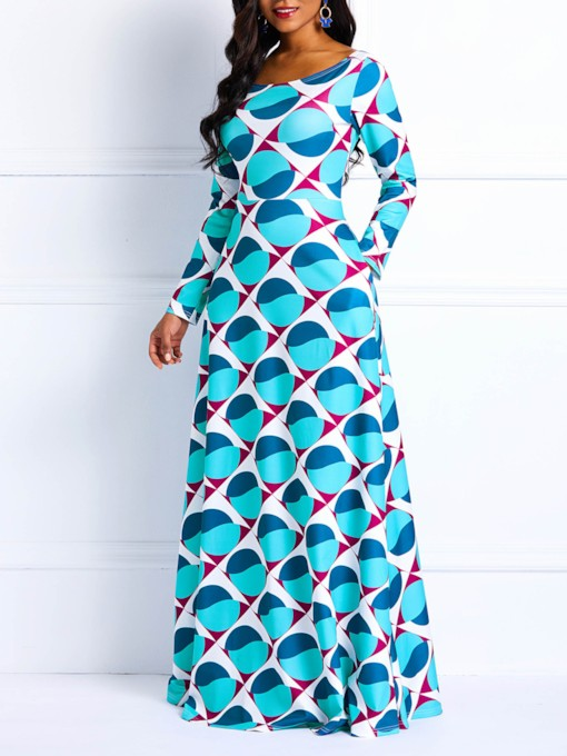 Print A-Line Long Sleeve Women's Maxi Dress