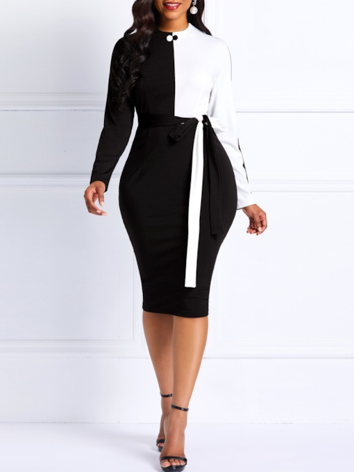 Lace-Up Stand Collar Long Sleeve Women's Bodycon Dress