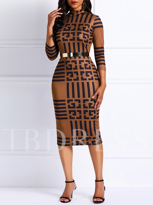 Geometric V-Neck Lace-Up Pencil Women's Bodycon Dress