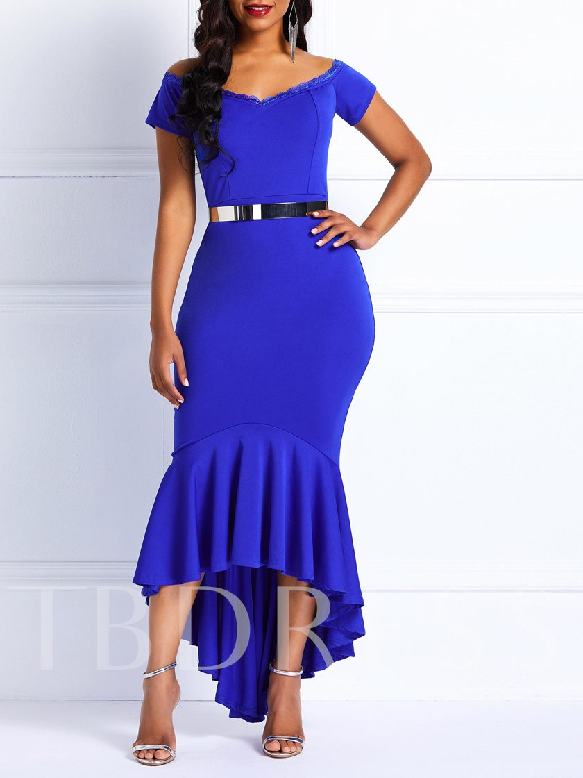 Asymmetric Short Sleeve Pleated Women's Maxi Dress