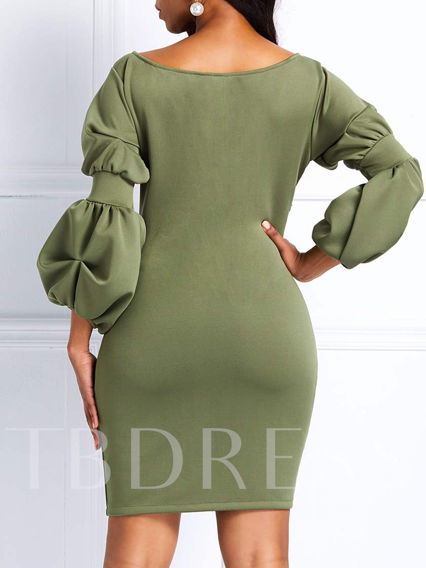Pleated Three-Quarter Sleeve V-Neck Off Shoulder Women's Bodycon Dress